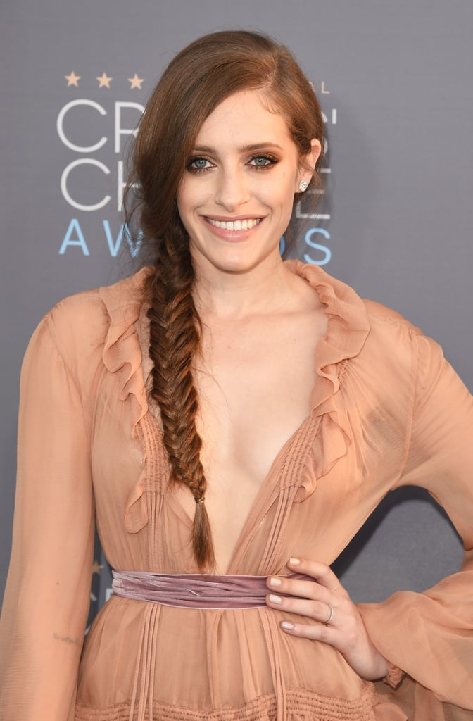 """Mr. Robot's Carly Chaikin wore her braid with pieces plucked from the plait, perfect for a """"just romped in the hay"""" look."""