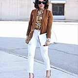 With a Patterned Shirt, Suede Jacket, and Beige Heels