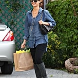 Jessica Alba Covers Her Bump in Denim During a Solo Day Out
