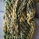 Olive Chunky Knit Sari Throw