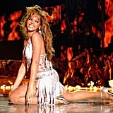 Wearing a fringed ensemble while performing at the 2003 MTV Europe Music Awards.