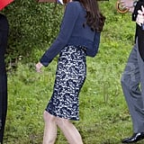 The Duchess of Cambridge, Kate Middleton, in Erdem with heels.