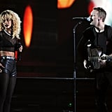 Chris Martin and Rihanna performed a duet.