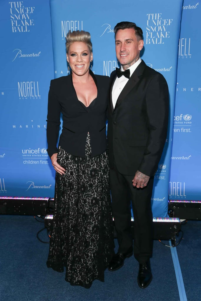 Pink and her husband, Carey Hart, stepped out together at the UNICEF Snowflake  Ball in NYC on Tuesday night, looking like the perfect pair. The couple, who tied the knot in 2006, flashed their megawatt smiles and posed for photographers on the red carpet before making their way inside to the party. The black-tie affair included a musical performance by Pink and honored Orlando Bloom for his work as UNICEF's goodwill ambassador. Just a day before, Pink dropped by The Tonight Show With Jimmy Fallon and opened up about her 4-year-old daughter, Willow, revealing her  love for motorcycles and acrobatics. Keep reading to see more of Pink and Carey's night out, and then check out their sweetest family moments.