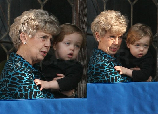 Pictures of Knox Jolie-Pitt With Grandma Jane Pitt On the Balcony