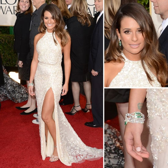 Pics of Lea Michele in Elie Saab 2013 Golden Globe Awards