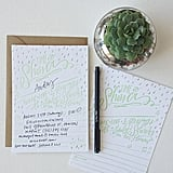 Lindsay Letters' baby shower invitations ($30 for 12) have a shiny silver foil and mint-green letterpress design, along with fill-in-the-blank lines for your shower details.