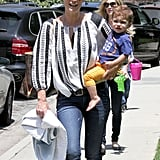 Molly Sims went with her son, Brooks, to the park in LA.