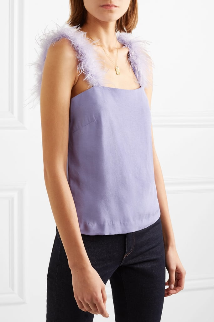 Staud Mariah Feather-Trimmed Crepe Top