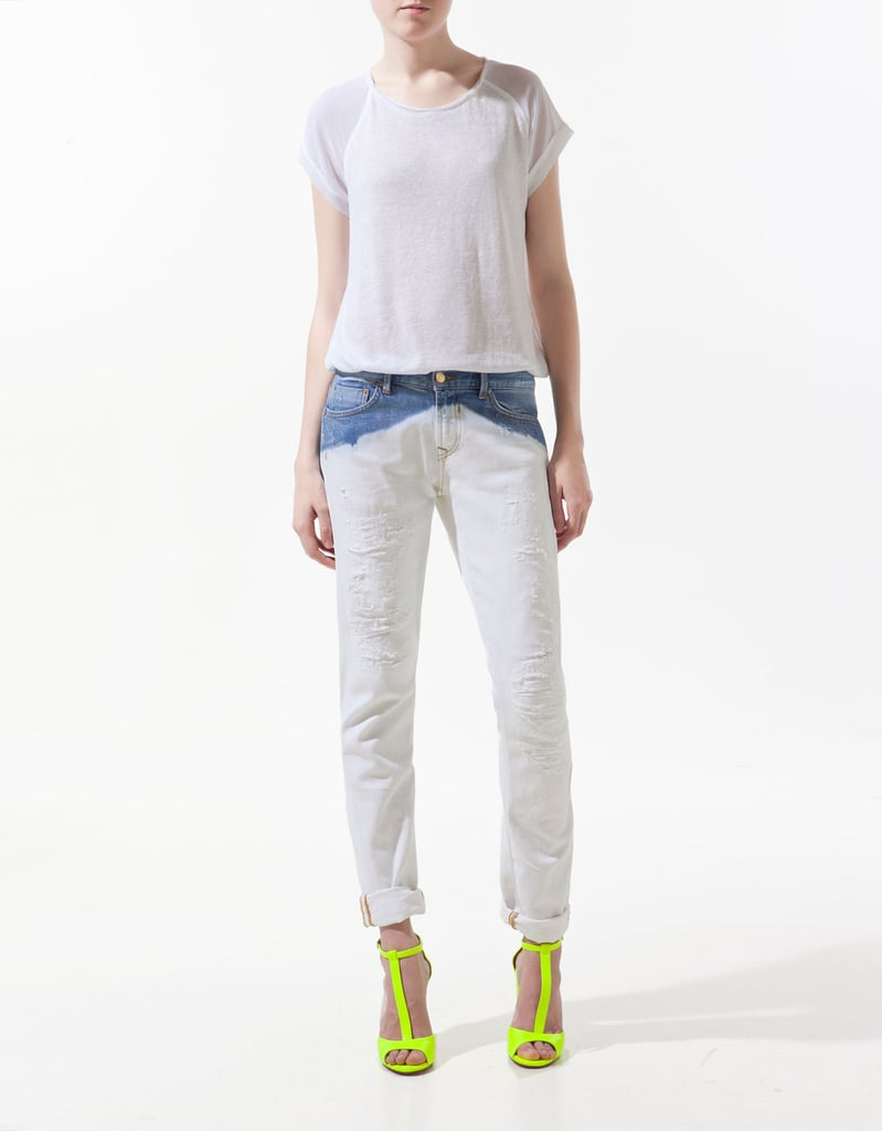 Zara's cap-sleeve piece has a little something extra: cool jersey mixed with sleek silk.  Zara Jersey Back Sweater ($80)