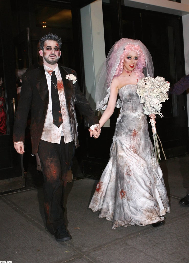 8b478551a0a Christina Aguilera and Jordan Bratman as a Zombie Bride and Groom ...