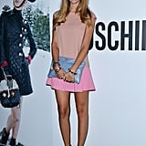 Chiara Ferragni showed off a pretty pink and peach ensemble at the Juergen Teller dinner hosted by Moschino at Milan Fashion Week.