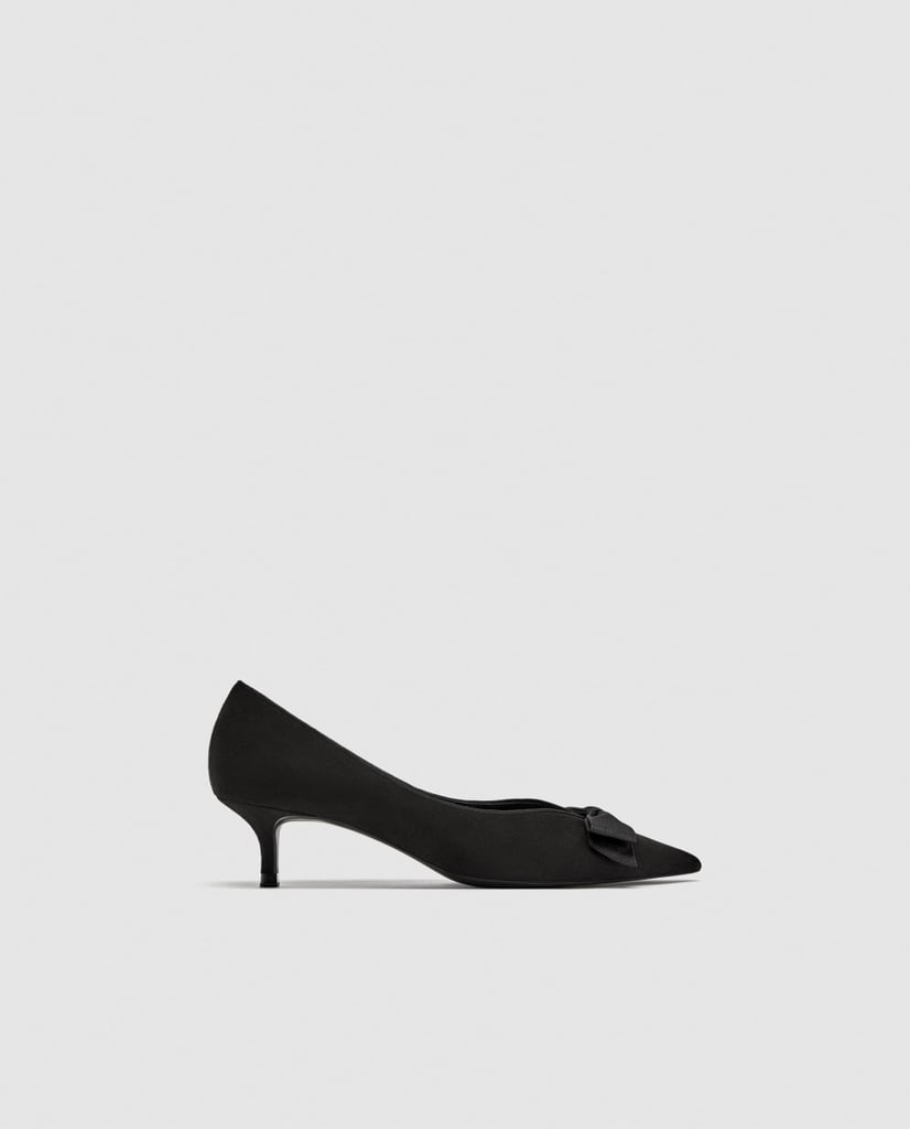 Zara Mid Heel Pumps With Bow Detail