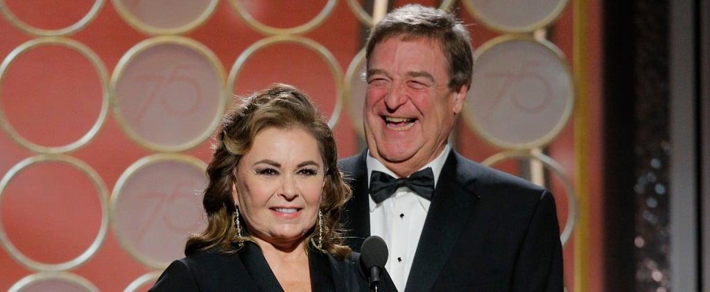 John Goodman and Roseanne Barr at 2018 Golden Globes