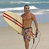 The fit star surfed shirtless in Australia in February 2007.