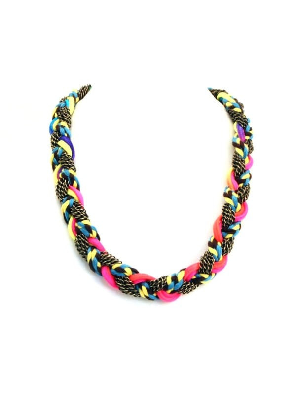 We love how the neon braiding plays off our favorite friendship bracelets.   Adia Kibur Neon String And Chain Necklace ($79)