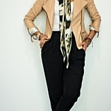 With Black Jogger Pants, a Printed Handkerchief, a Pastel Leather Jacket, and Silver Heels