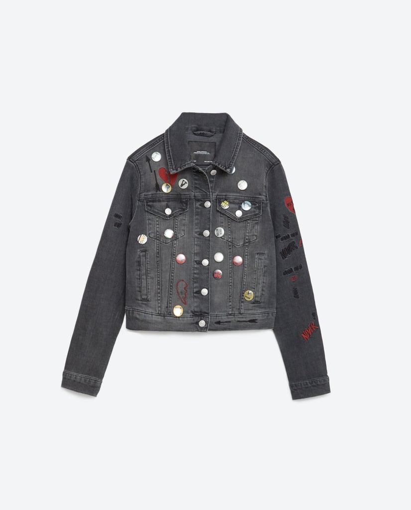 Embroidered Denim Jacket With Pins ($70)