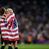 US soccer players Megan Rapinoe and Lauren Cheney shared an embrace after winning gold.