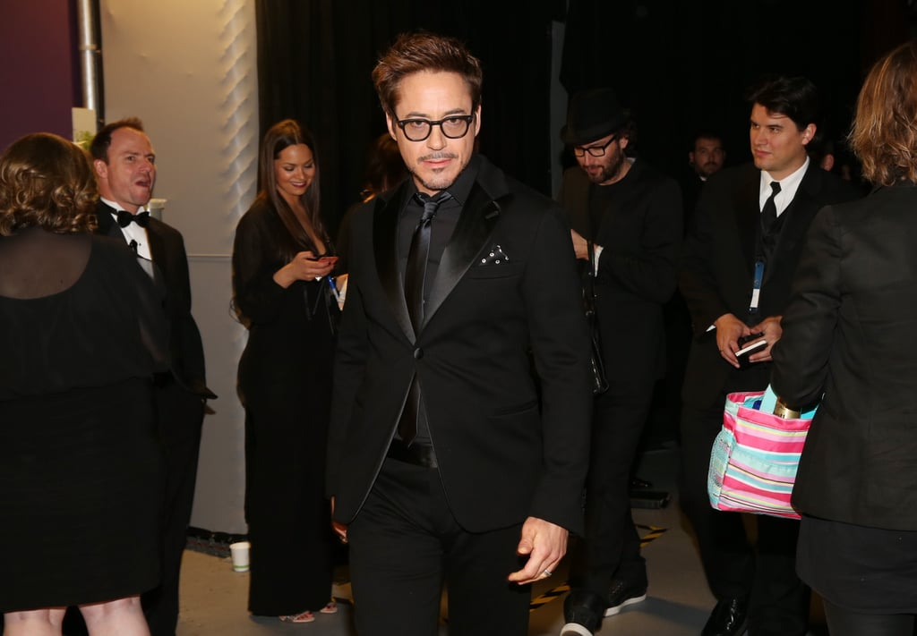 Robert Downey Jr. backstage at the 2013 Oscars.