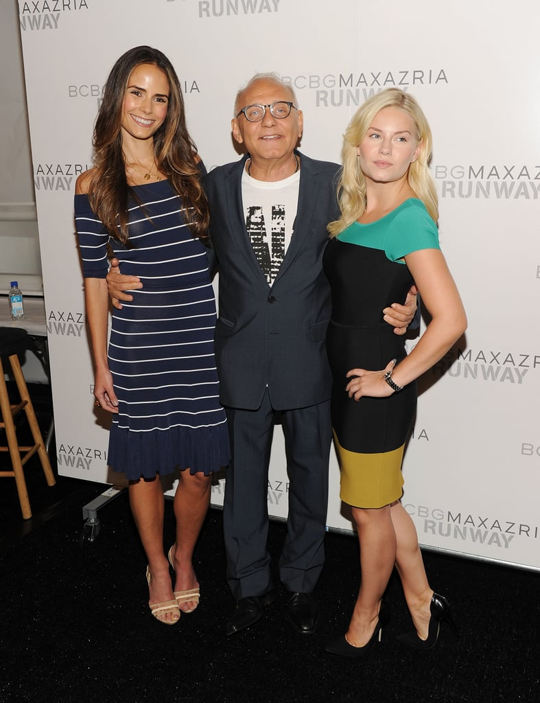 Jordana Brewster says hi to Max Azria and Elisha Cuthbert.