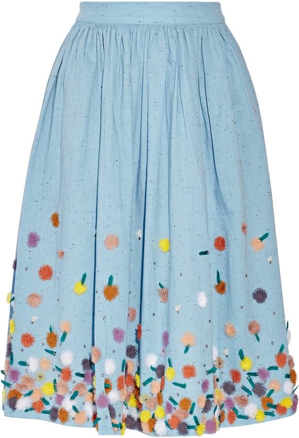Suno Embellished Cotton-Chambray Skirt ($650)