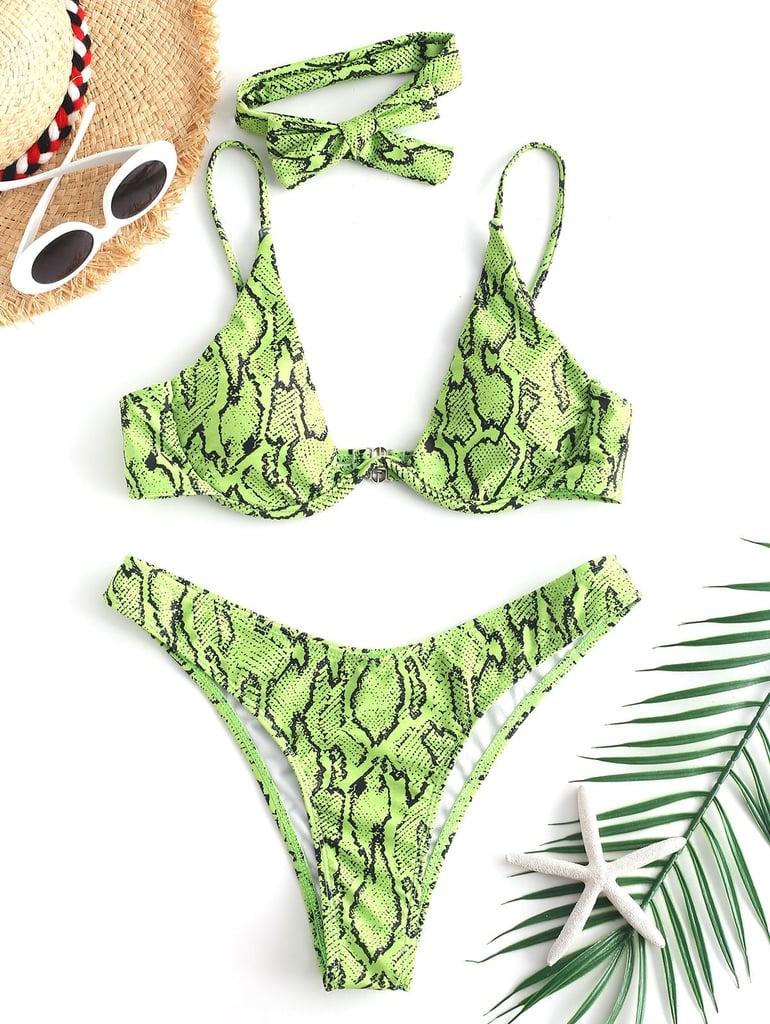 Zaful Snake-Print High-Cut Bikini Set