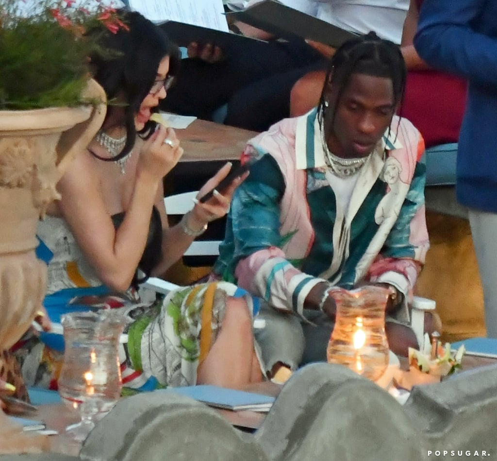 Kylie Jenner Printed Dress in Italy With Travis Scott