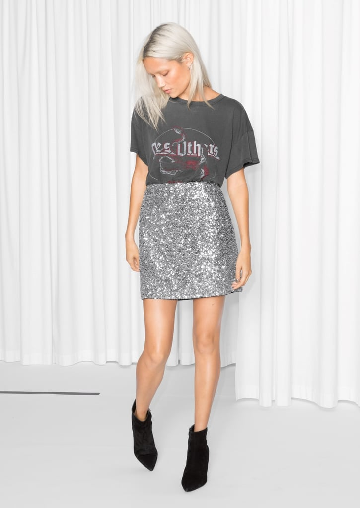 & Other Stories Silver Sequin Skirt