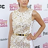 Nina Dobrev wore a white and gold sequined Michael Kors outfit.