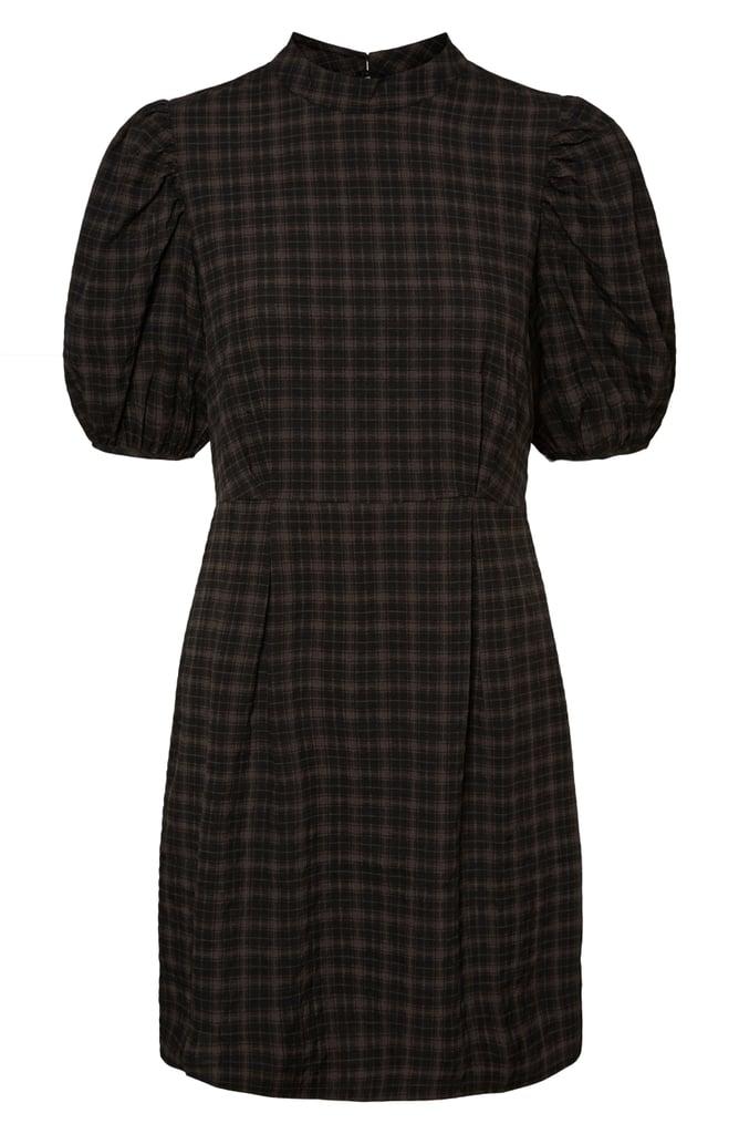Vero Moda Maddie Plaid Puff Sleeve Dress