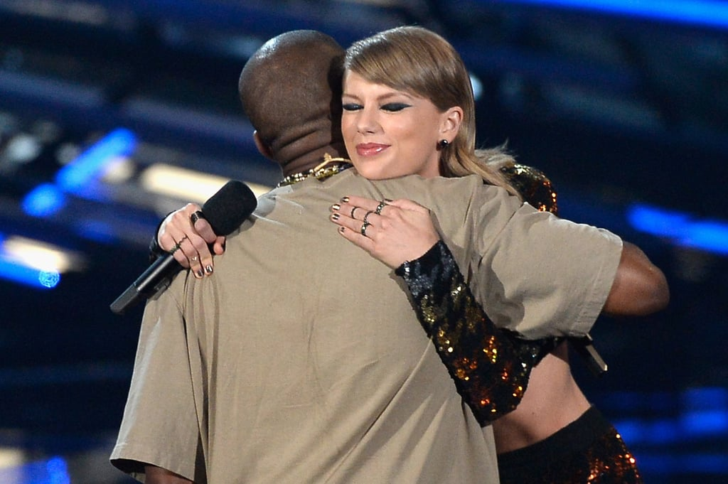 Taylor Swift presented Kanye West with the Video Vanguard Award, and after her speech, the two shared a sweet hug on stage in 2015.