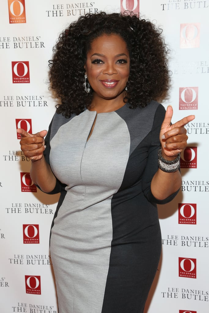 Oprah gave a double-point at a screening of Lee Daniels' The Butler in 2013.