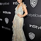 Wearing a sheer Marchesa dress at the 2017 Golden Globe Awards afterparty.