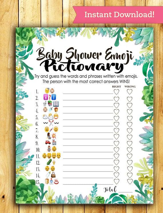 High Quality Baby Shower Emoji Pictionary