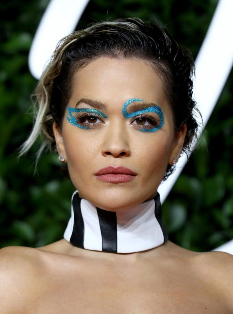 Rita Ora's Asymmetric Blue Swirl Makeup