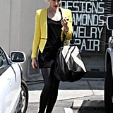 Gwen Stefani isn't the only starlet rocking this edgier take on a tweed-inspired yellow blazer. Maybe it's the cool zipper detailing, but Hilary Rhoda and Pretty Little Liars actress Lucy Hale have also been spotted wearing this Zara iteration with slinky LBDs and jeans-and-tee combos.