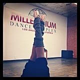Ashley Tisdale shared a photo of her pointe shoes during ballet training. Source: Instagram user ashleytis