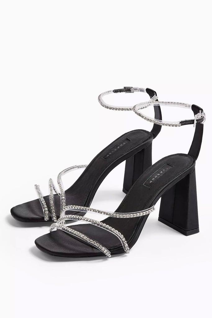 Topshop Sky Black Diamante Block Shoes