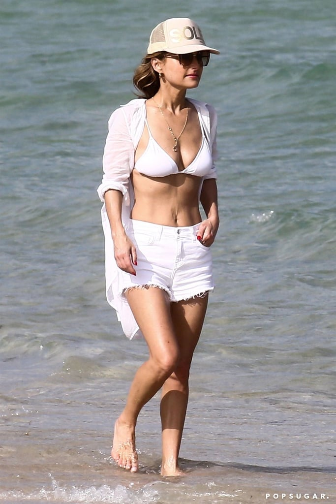 "OK, we see you, Giada De Laurentiis! On Thursday, the 48-year-old chef showed off her incredible figure when she hit the beach in Miami in a plunging blue one-piece. Giada was joined by her 10-year-old daughter, Jade (whom she shares with ex-husband Todd Thompson), and the two appeared to have a blast as they splashed around in the ocean. The following day, Giada returned to the beach, only this time the chef opted for a white bikini top and matching shorts.  The Food Network star also shared photos from their trip on her Instagram Stories, including one of Jade jumping on the beach, writing, ""Miami Baby!"" Clearly, they're enjoying their mother-daughter time. Giada has been busy with her new cake competition show, Winner Cake All, so it makes sense that she wanted to take a quick break to catch some rays. Now if only she would've taken us with her.       Related:                                                                                                           Age Is Just a Number! See Hot Stars Over 40 in Bikinis"