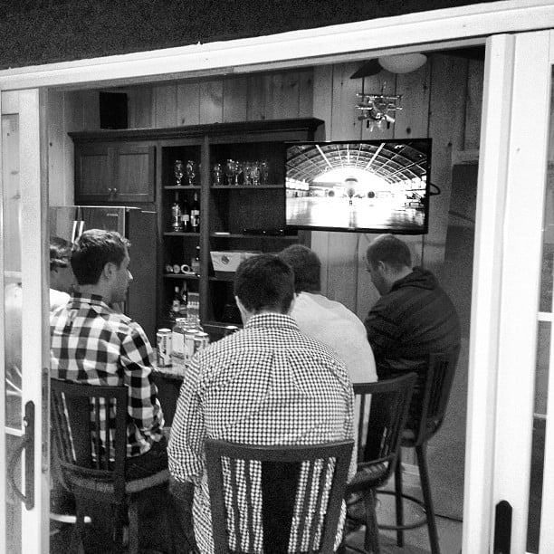 Man-cave sheds also allow for gambling, drinking, and . . . sports.