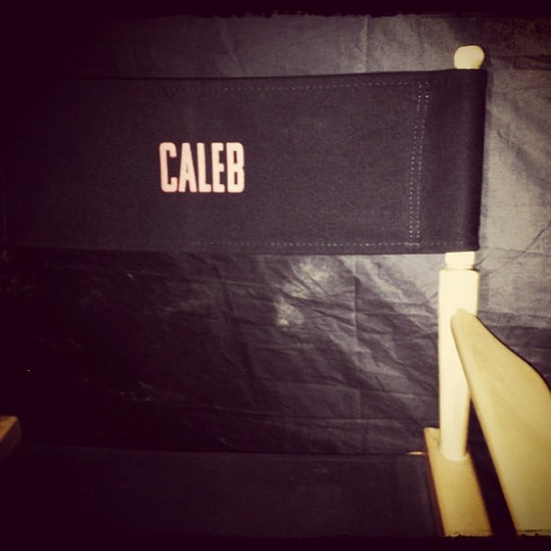 Ansel Elgort shared this photo of his chair on set. Source: Instagram user anselelgort