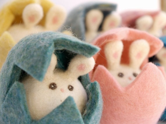 Fairyfolk Needle-Felted Easter Bunny Rabbits