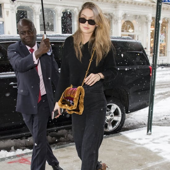 Gigi Hadid Carrying Versace Pillow Bag