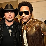 Jason Aldean and Lenny Kravitz posed for a photo before performing together.