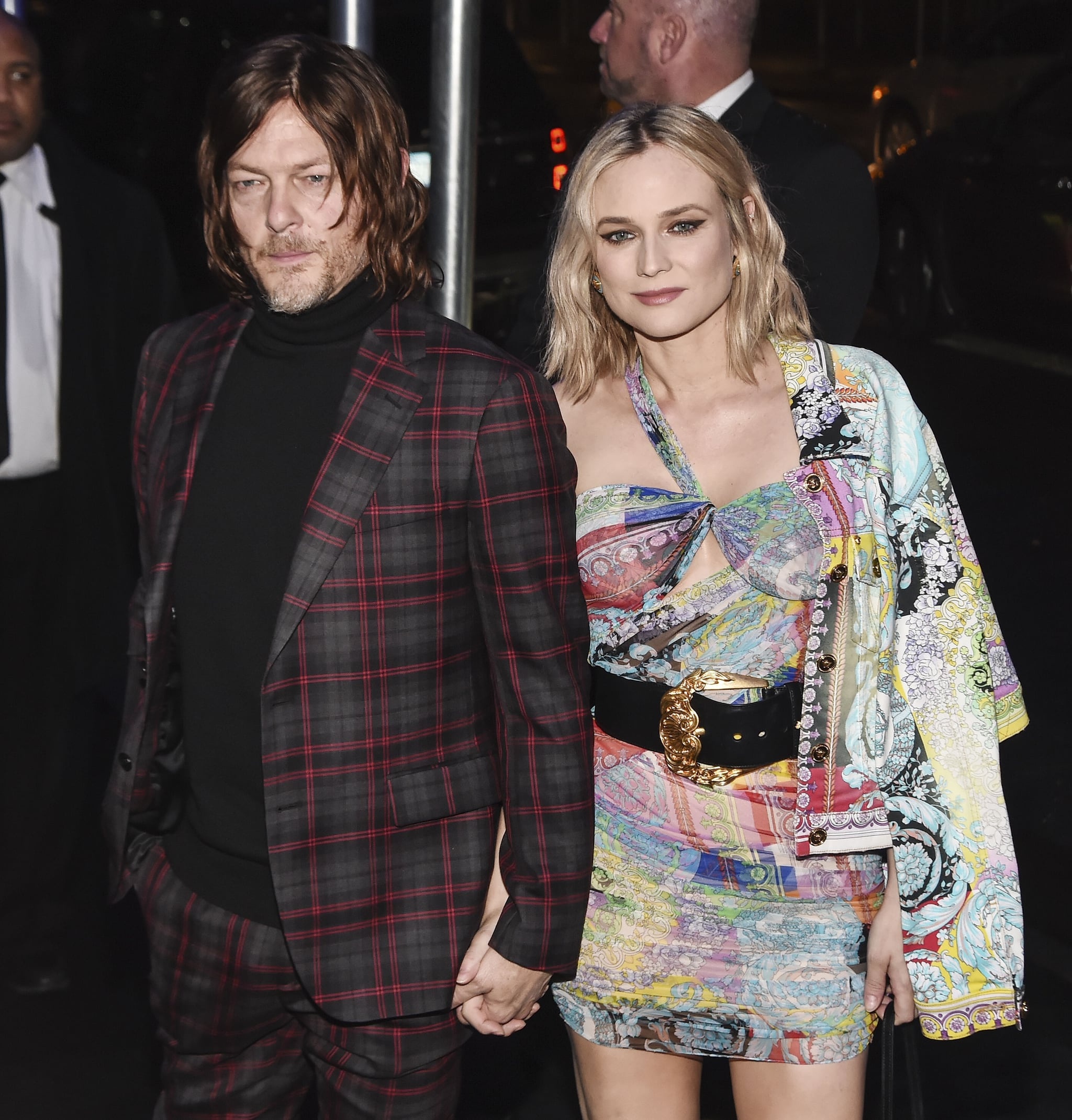 NEW YORK, NY - DECEMBER 02:  Norman Reedus and Diane Kruger are seen outside the Versace Pre-Fall 2019 Collection on December 2, 2018 in New York City.  (Photo by Daniel Zuchnik/Getty Images)