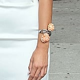 Blake added a unique accoutrement via a silver rosette-adorned bracelet.