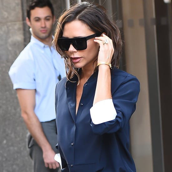 Victoria Beckham Dancing in White Top in Times Square 2016