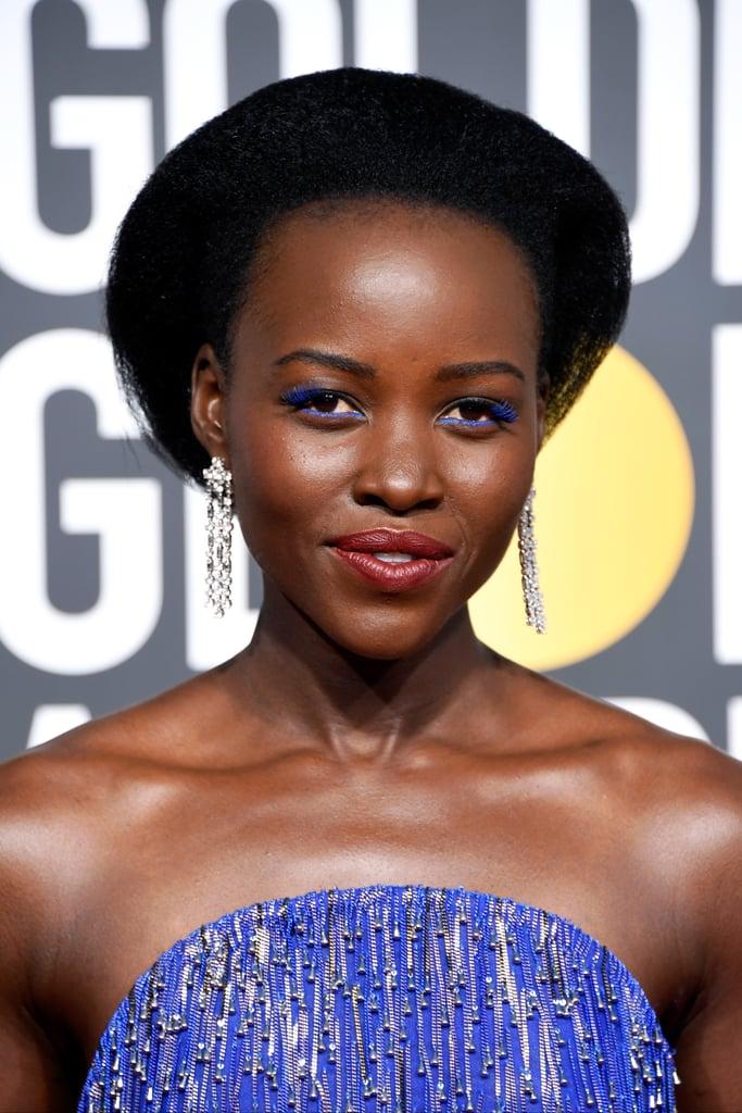 Lupita Nyong'o Golden Globes Blue Lashes 2018