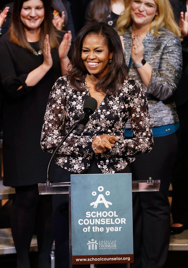 Michelle Obama Wearing Black Sheer Rodarte Blouse 2018